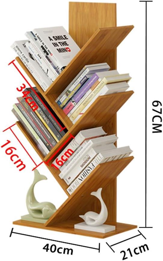 QIANGDA Estante para Libros Librer/ías Dise/ño De Dos Niveles Bamb/ú Libro De Piso Biblioteca En Forma De /Árbol Alta Capacidad Estante De Productos B/ásicos Tama/ño : 40 x 21 x 54cm 7 Tama/ños Opcional
