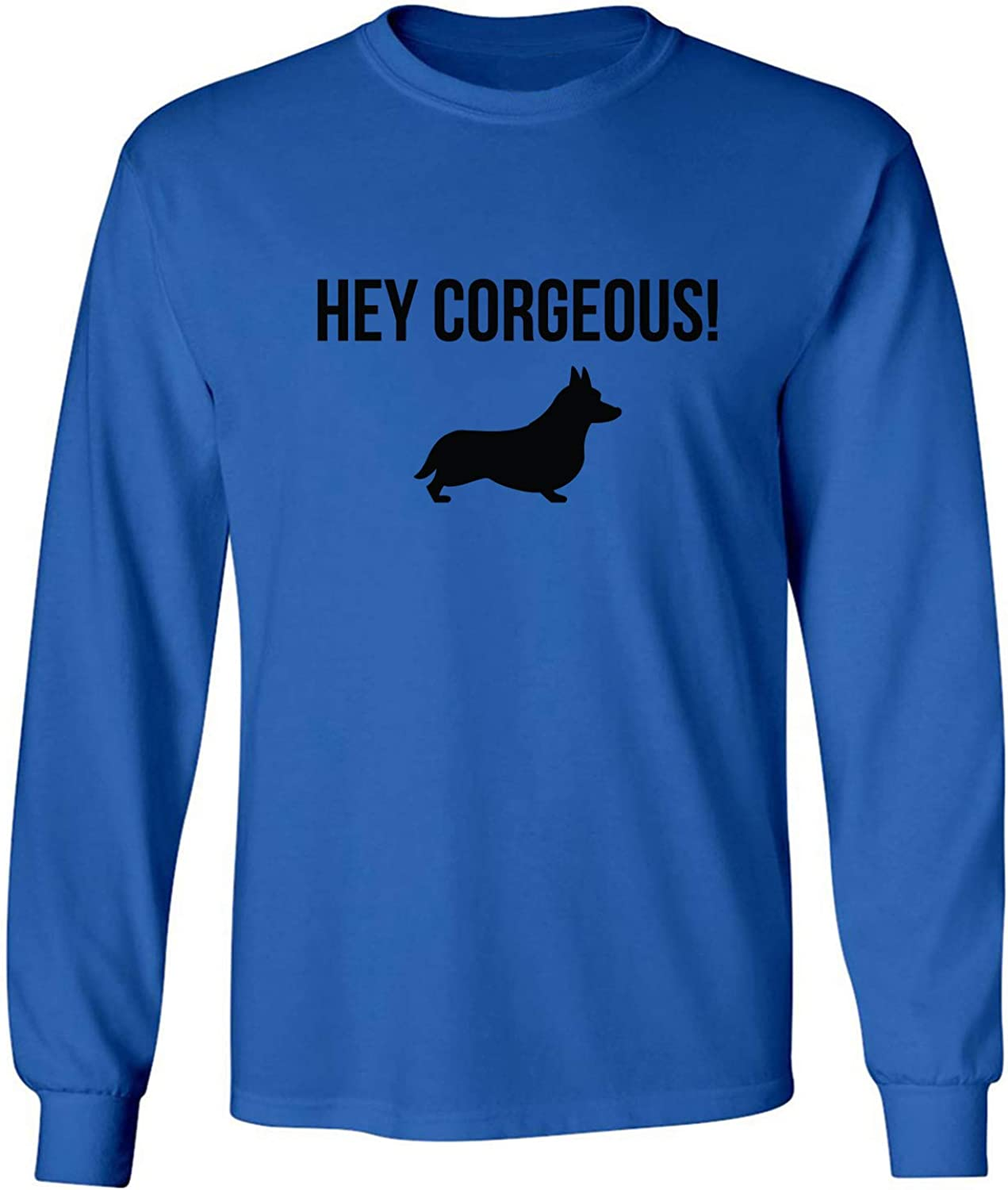 Hey Corgeous! Adult Long Sleeve T-Shirt in Royal - XXXXX-Large