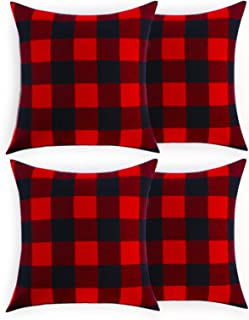 Volcanics Christmas Pillow Covers Buffalo Check Plaid Throw Pillow Covers Set of 4..