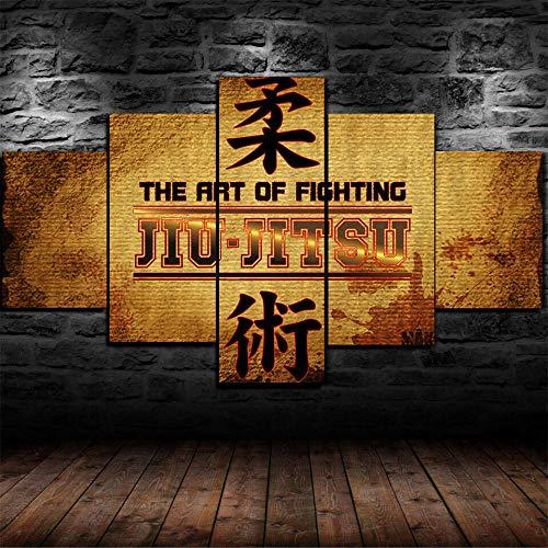 TOPRUN 5 Piezas Cuadro sobre Lienzo De Fotos Gimnasio de jiu-Jitsu brasileño Gracie Lienzo Impresión Cuadros Decoracion Salon Grandes Cuadros para Dormitorios Modernos Mural Pared Listo para Colgar