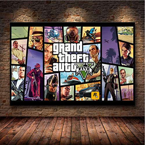Game Poster Grand Theft Auto V Game Poster GTA 5 Canvas Art Print Painting Room Decoration Home Decoration Frameless Painting 50X70Cm (M:0858)