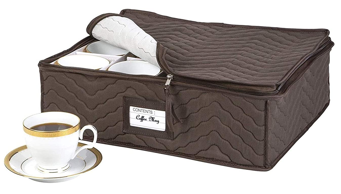 China Cup Storage Chest - Deluxe Quilted Microfiber - Holds 12 Stemware Dishes, Coffee/Tea Mug Cups - Protect Your Valuable Glassware from Dings, Scratches and Cracks - Brown - 13