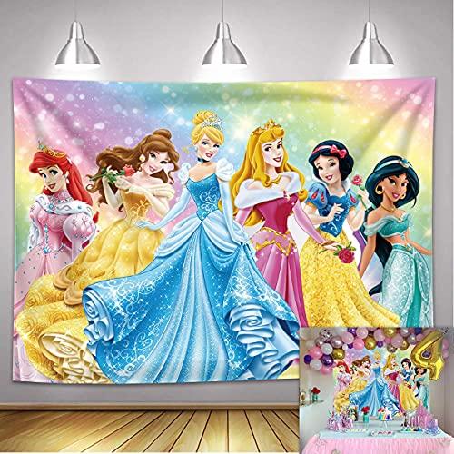 NSY Fondo de fotografía de princesa con purpurina y diseño de princesa, para niña, 1er cumpleaños, fiesta, decoración de banner para fiestas de bebé, princesa, vestido de fiesta (2,1 m x 1,5 m)
