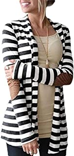 Women Long Sleeve Stripe Print Cardigan Casual Elbow Patchwork Knitted Sweater