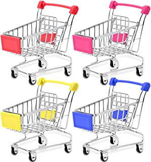 Bestsupplier Mini Supermarket Handcart, 4 Pcs Mini Shopping Cart Supermarket Handcart Shopping Utility Cart Mode Storage Toy
