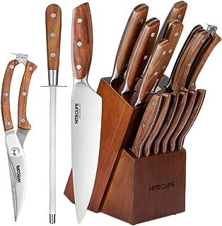 HITECLIFE Messerblock Set,Messerset,14-TLG Messer Set mit Holzgriff Block,Edelstahl Kchenmesser Kochmesser Steakmesser, Kchenschere und Wetzstahl Stange, Essbesteck-Set mit ergonomische Griffe
