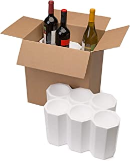"U-Haul Wine Bottle Shipping Kit for 6 Bottles (750 ml) - Includes a 14-13/16"" x 10"" x 15"" Box & Styrofoam Inserts"