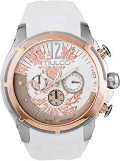Two Maze Swiss Quartz Multifunctional Movement Women's Watch | Forrest Rose Gold Pattern Sundial with Rose Gold and Swarovski Accents | Silicone Watch Band | Water Resistant
