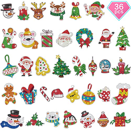 36 PCS Christmas Diamond Painting Stickers Kits for Kids- Fun 5D Diamond Arts & Crafts Paint by Number Kits