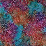 Stoff mit Batik-Design, mehrfarbig, Wasserfarbenmuster, 100