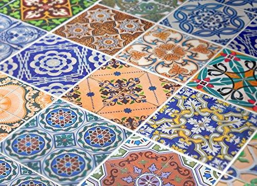 Adhesivos para Azulejos - Paquetes con 48 (PISO, SUELO - 15 x 15 cm, Vinilos Decoración, Azulejo Portugués, Azulejos para Baños, Azulejos Pared, Azulejos para Pisos, Vinilos Decorativos)