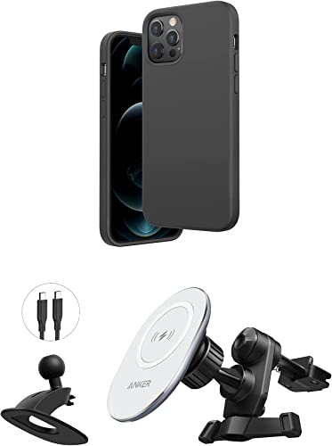 new arrival Anker high quality Magnetic Silicone Case, 6.7 Inches for iPhone 12 Pro Max (Dark Gray) & Anker PowerWave Magnetic sale Car Charging Mount with 4 ft USB-C Cable (USB-C Car Charger Not Included) online sale