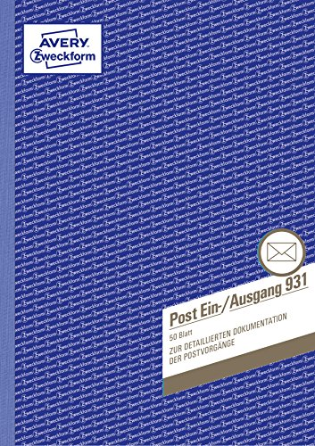 AVERY Zweckform 931 Post-Ein-/Ausgangsbuch (A4, beidseitig bedruckt, 50 Blatt) weiß