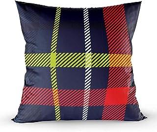 Ducan Lincoln Pillow Case 2PC 18X18,Fundas De Almohada,Fundas De Funda De Almohada Cuadrada Patrón De Tartán Tejido Tradicional Escocés Fondo Brillante Adecuado Childrenation