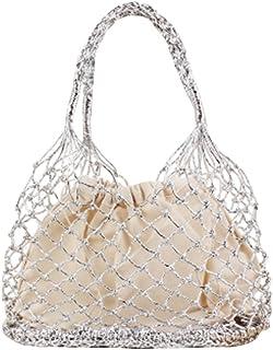 YOUJIAA Damen Schicke Gewebte Beuteltasche Shopper Casual Kordelzug Tote Elegante Handtasche für Strand (Silber, 28x35cm)