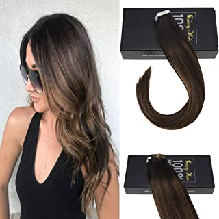 Sunny 16 inch Brown Balayage Tape in Hair Seamless Real Human Hair Darkest Brown and Medium Brown Glue on Hair Tape in Hair Extensions Remy Human Hair 20 pcs/pack