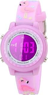 Kids Watch for Boys Girls 3D Cute Flamingo Cartoon Toddler Watch Digital Silicone Band Alarm Stopwatch Digital Child Wristwatch 50M Waterproof Purple