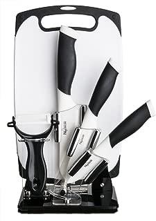 New England Cutlery 6 Pieces Ceramic  3-Inch 4-Inch 5-Inch Knife Set with Cutting Board - Black