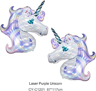 Unicorn Balloon 2 Pcs Large Helium Balloons Laser Purple Unicorn Foil Balloon Party Balloon,Party Decoration,Party Supplies Happy Birthday Balloons 87 * 117CM
