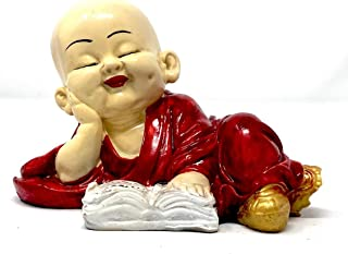 Petrichor Cute Little Monk Figurine Statue, Cute Little Monk Reading Book Statue Wealth Lucky Figurine Home Baby Buddha De...