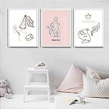 None brand Decoración del hogar nórdico Lienzo Pintura Dibujos Animados Linda Chica Dormitorio Pared Arte impresión niños pequeña Princesa Rosa Cartel Imagen minimalista-50x70cmx3pcs sin Marco