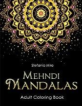 Mehndi Mandalas Adult Coloring Book: Black Background