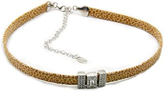Beige Nude Snake Skin Genuine Leather Choker with Cubic Zirconia & 925 Sterling Silver
