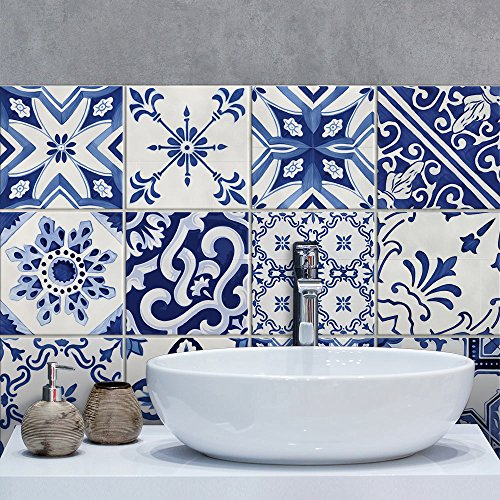 PS00126 - Juego de 10 adhesivos de PVC para decoración de azulejos de baño y cocina (20 x 20 cm)