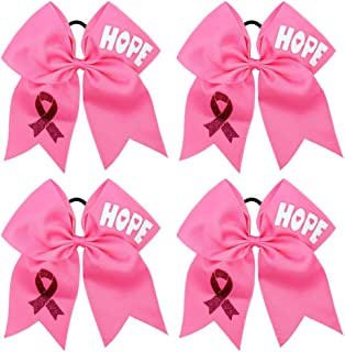 Breast Cancer Awareness Cheer Bow Hair Tie Ponytail Holder for Baby Girls Set