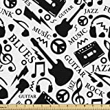 Ambesonne Music Fabric by The Yard, Blues Jazz Punk Rock Various Type of Folk Indie Rap Reggae Peace Sign Sing Artwork, Decorative Fabric for Upholstery and Home Accents, 1 Yard, White and Black