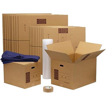 ボックスバンク ダンボール 段ボール 引っ越しセットL(2~3人用)●ダンボール箱(大・中)20枚、布団袋、プチプチ、テープ ZH14-0020-a2