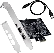 QNINE PCIe 3 Ports 1394A Firewire Expansion Card, 2 x 6 Pin and 1 x 4 Pin PCI Express to External IEEE 1394 Adapter Controller for Desktop PC and DV Connection