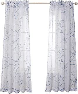 MYSKY HOME Leaves Fashion Design Print Striped White Sheer Curtains with Rod Pocket for Dining Room, 52 by 84 inch, Blue, 2 Curtain Panels