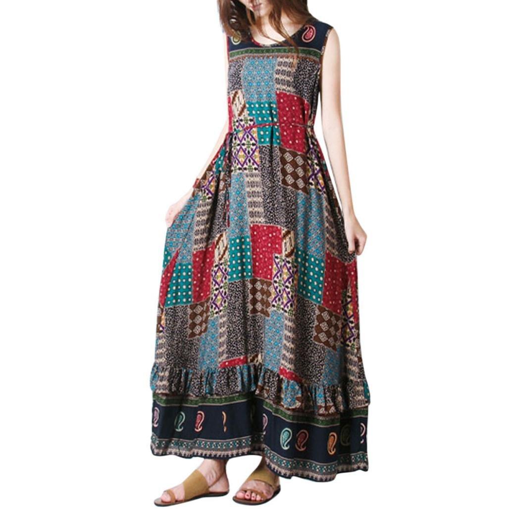 HOMEBABY Women Boho Maxi Dress Plus Size - Ladies Sleeveless/Long