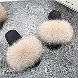 COQUI Zapatillas casa Mujer,Zapatillas Primavera y Verano Nueva Versión Coreana con una Palabra Torres Limpiadoras peludas-Rosa Desnudo_42-43