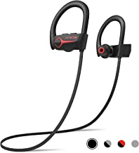 Letscom Wireless Headphones, Bluetooth 5.0 Earbuds IPX7 Waterproof Workout Earphones HD Stereo Sound Bass Headsets Noise Cancellation 15Hrs Playtime with Portable Case
