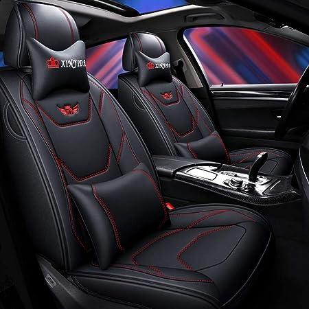 Jdwbt Auto Sitzbezüge Set Leder Luxus Full Set Universal Vorne Hinten Sitz Auto Innen Kissen Fit 5 Sitze Auto Atmungsaktiv Komfortabel Color Black Red Auto