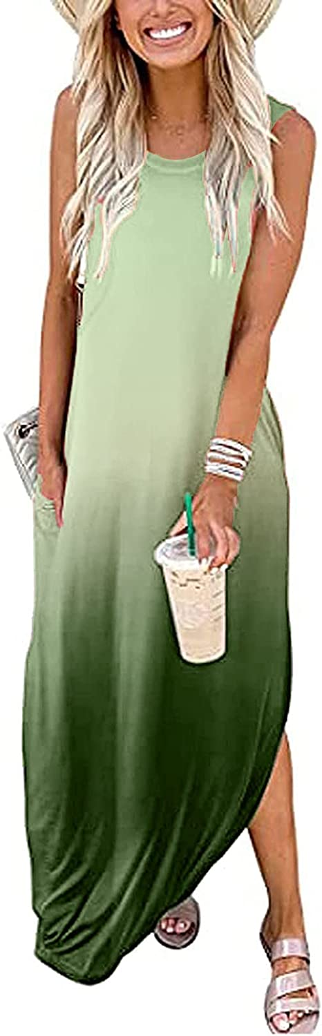 Maxi Dresses for Women Summer Loose with Sleevele Casual Pockets Free shipping on posting reviews Super intense SALE