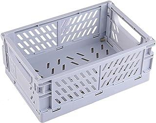 NGLSCXR Panier de conteneur en caisse pliable, stockage en plastique de caisse, boîtier de stockage pliable, boîte de rang...