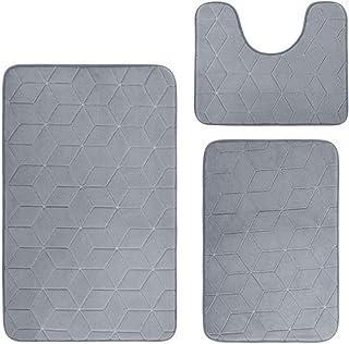 LeBsun Bath mat Bath Mat Rug 3 Piece Set, Large, Small and Contour Bathroom Rug Set, Ultra Soft Non-Slip Memory Foam Bathr...