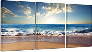 iHAPPYWALL Hello Artwork - Beach Sunset Wall Art Giclee Canvas Wall Art Ocean Canvas Prints Wave Canvas Stretched and Framed Sea Pictures Paintings Artwork for Living Room Bedroom Home Decor (3Panel)