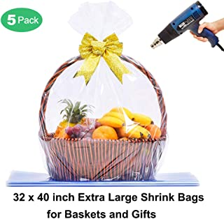 LazyMe Clear Basket Bags Large Cellophane Shrink Wrap Bags for Christmas Baskets and Gifts, 32x40 inch,Thick 2.5mil (5 Piece)