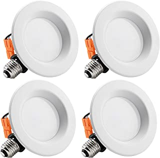 TORCHSTAR 4-Inch Dimmable Recessed LED Downlight with Smooth Trim, 10W (65W Eqv.), CRI 90, ETL, 5000K Daylight, 700lm, LED Retrofit Lighting Fixture, 5 Years Warranty, Pack of 4