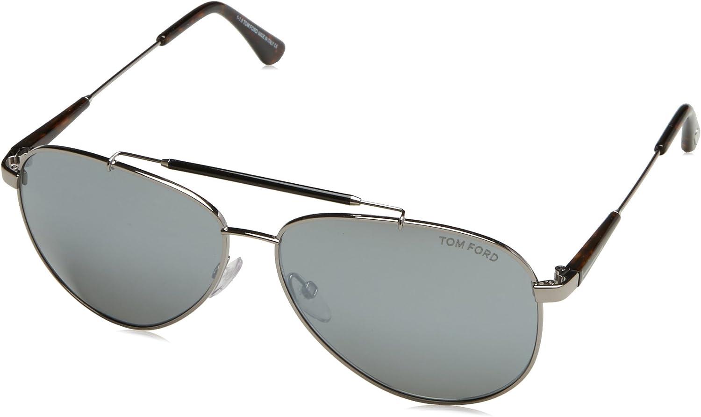 Brand New Tom Ford Sunglasses Rhett FT 0714 01C Black//Silver Mirror For Men