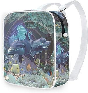 DEZIRO - Mochila de hombro con diseño de delfines del mundo submarino
