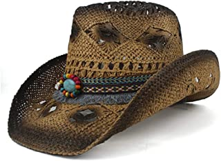 Sun Hat for men and women Weave Straw Women Men Hollow Western Cowboy Hat Lady Dad Sombrero Hombre Cowgirl Jazz Caps Bull Head Band