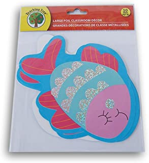 Pink and Blue Fish Classroom Decor Foil Paper Cut-Outs - 10 Count