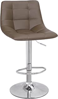 Adeco Modern Swivel Adjustable Leather Brown Armless Barstool with Chrome Base - Set of 2, Coffee