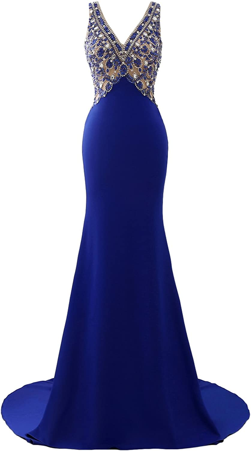 Epinkbridal Sheer V Neck Prom Dress with Jeweled Bodice Sexy Open Back Formal Gowns Mermaid