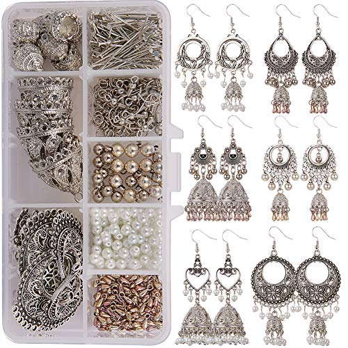 SUNNYCLUE 1 Box DIY 6 Pairs Retro Vintage Brocade Mexico Gypsy Earrings Lotus Hook Dangle Indian Jhumka Jhumki jewellery making kit for Girls and Women Introduction Included
